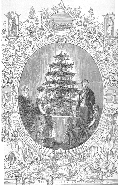 Christmas tree at Windsor Castle, drawn by J.L. Williams
