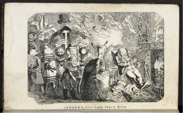 'January' drawn by George Cruikshank (C19th date unknown)