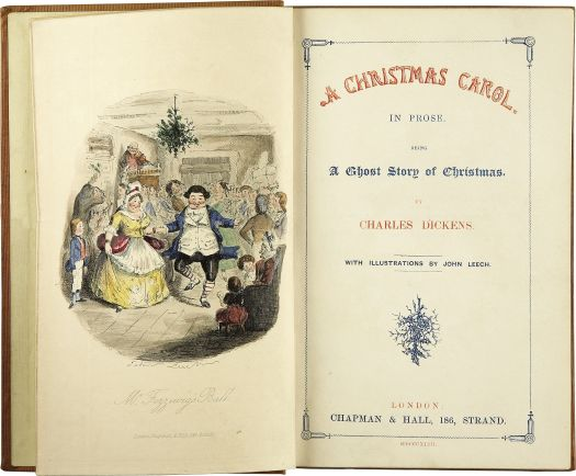 A first edition frontispiece and title page of 'A Chirstmas Carol' in 1843