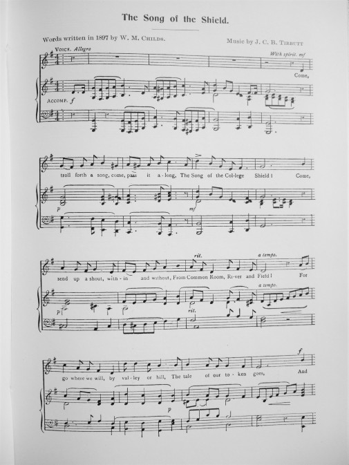 16. first page of the college song - the song of the shield