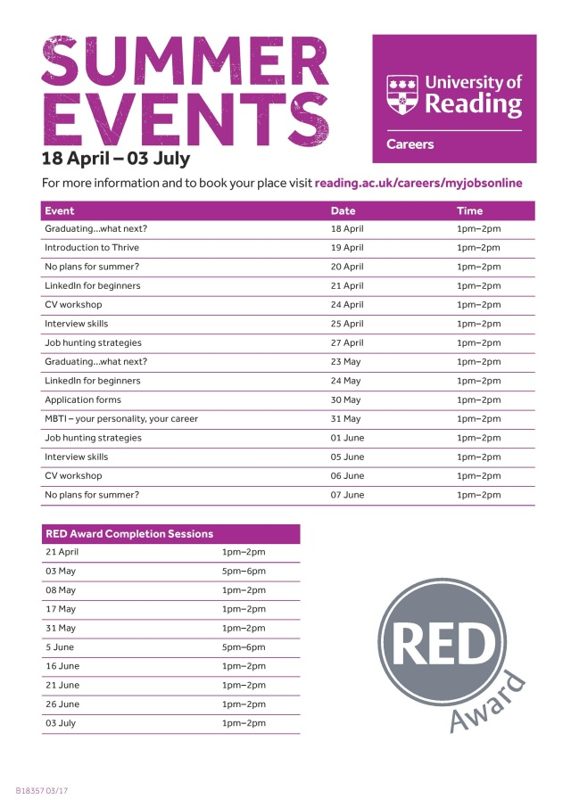 B18357 CAREERS Events Summer17