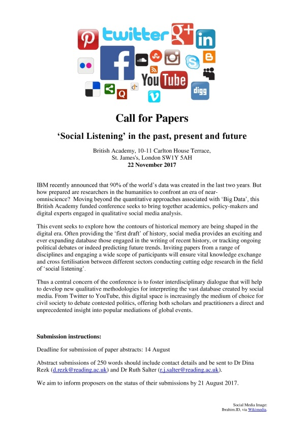 'Social Listening_ in the past, present and future - Call for Papers