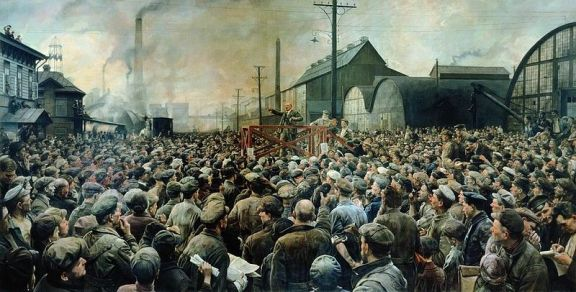 Isaak Brodsky, Lenin at Putilov factory in May 1917 (1929) via Wikimedia