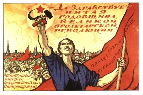 Ivan Vasilyevich Simakov, Soviet poster dedicated to the 5th anniversary of the October Revolution and IV Congress of the Communist International (1922) via Wikimedia