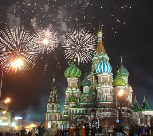 Fireworks over St Basil's Cathedral, Moscow