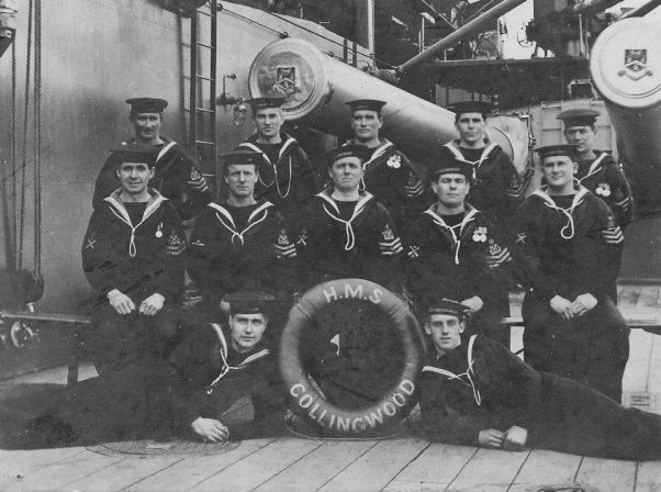 Great-grandad on HMS Collingwood (middle row, right)