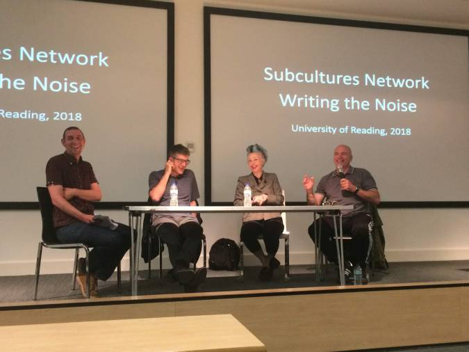 The roundtable panel, left to right: Prof. Matthew Worley, Simon Reynolds, Cathi Unsworth, and David Stubbs