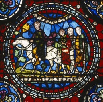 Stained glass depicting pilgrims making their way to St Thomas Becket's shrine at Canterbury Cathedral (13th century with 19th century restorations), Sonia H.jpg