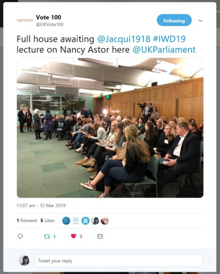 An eager audience at the International Women's Day 2019 lecture in Parliament.